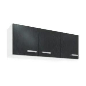 Alacena 1,20 Mueble De Cocina 3 Puertas Con Estante Blanca y Negra