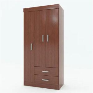 Ropero Placard 90 Cm Ancho 3 Puertas Revestido Interior Cedro